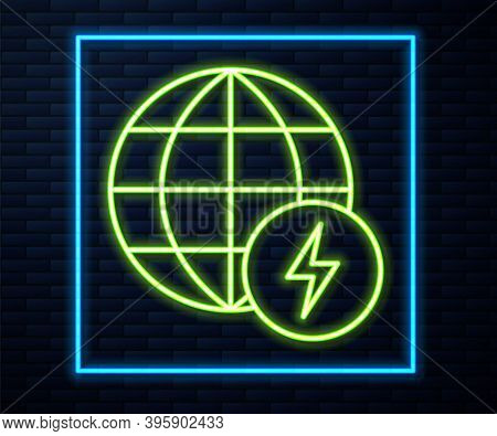 Glowing Neon Line Global Energy Power Planet With Flash Thunderbolt Icon Isolated On Brick Wall Back