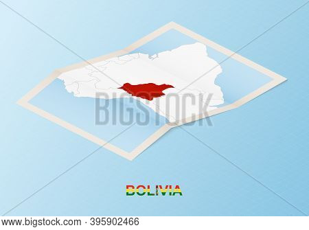 Folded Paper Map Of Bolivia With Neighboring Countries In Isometric Style On Blue Vector Background.