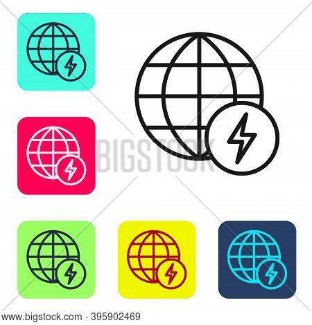 Black Line Global Energy Power Planet With Flash Thunderbolt Icon Isolated On White Background. Ecol