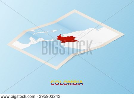 Folded Paper Map Of Colombia With Neighboring Countries In Isometric Style On Blue Vector Background