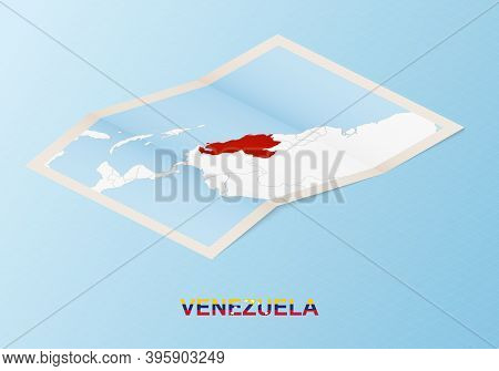 Folded Paper Map Of Venezuela With Neighboring Countries In Isometric Style On Blue Vector Backgroun