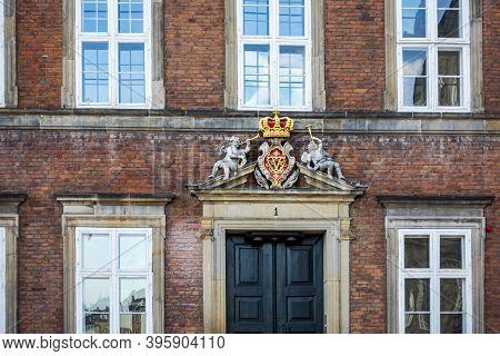 Copenhagen, Denmark - Oct 19, 2018: Insignia Of Ministry Of Finance Building, Near Christiansborg Pl