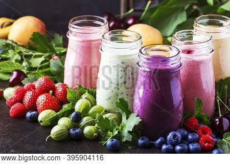 Berry Fruit Cokctalis, Smoothies And Milkshakes, Fresh Fruit And Berries On Brown Table, Still Life,