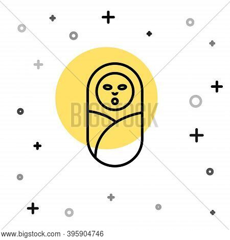 Black Line Newborn Baby Infant Swaddled Or Swaddling Icon Isolated On White Background. Baby Kid Chi