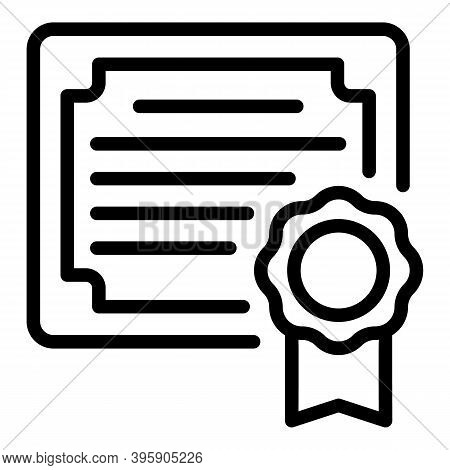 Degree Diploma Icon. Outline Degree Diploma Vector Icon For Web Design Isolated On White Background