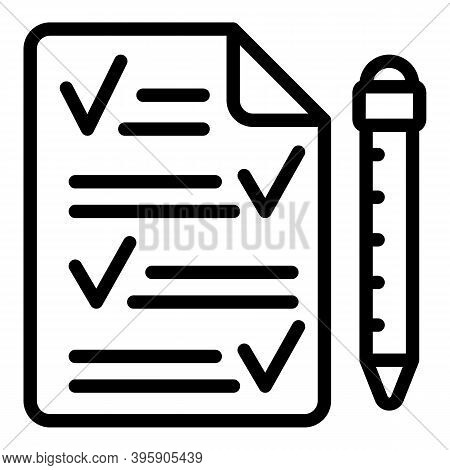 Paper And Pen Icon. Outline Paper And Pen Vector Icon For Web Design Isolated On White Background