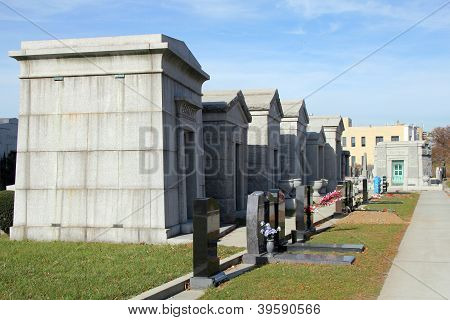Mausoleums and tombstones at the  Washington Jewish cemetery in Brooklyn, New York