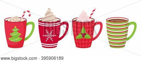 Set Of Mugs With Coffee, Tea, Cocoa With Marshmallow, Straw And Whipped Cream And Decorative Topping