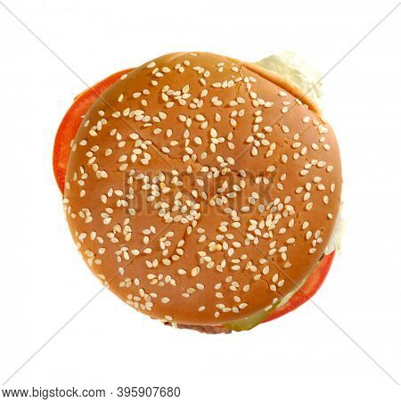 Burger round sesame bun texture isolated on white background. Top view.