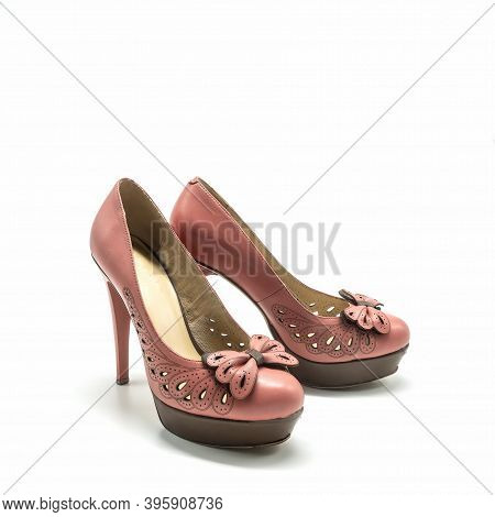 Women's Shoes With High Thin Heels And A Thick Platform. Made Of Genuine Leather In Pink And Brown C