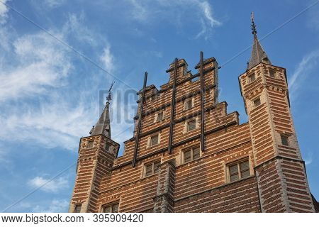 Detail Of The Vleeshuis Building In Atnwerp, Belgium. Iin The Middle Ages Was A Meat Market As Well