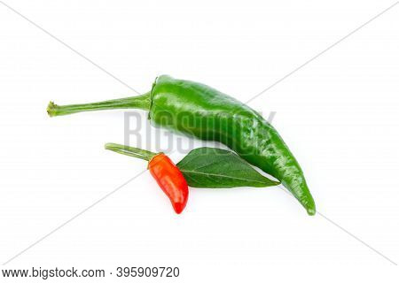 Large Green And Red Chili Peppers Isolated On White Background. Healthy Food. Fresh Vegetables . Pep