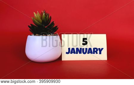 January 5  On A Yellow Sticker.next To It Is A Pot With A Flower On A Red Background .beginning Of Y