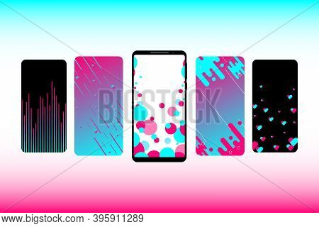 Social Media. Internet Application Interface On A Smartphone Screen. Carousel Background For A Socia