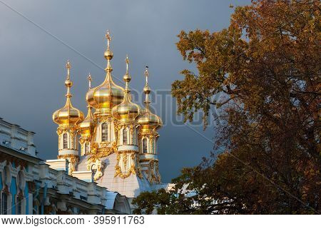 Tsarskoye Selo, Saint-petersburg, Russia - October 20, 2020: The Church Of The Resurrection - The Ho