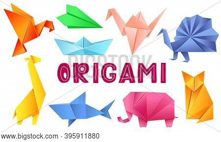 Origami Animals Set - Bird, Plane, Crane, Peacock, Giraffe, Boat, Shark, Fox, Elephant. The Japanese