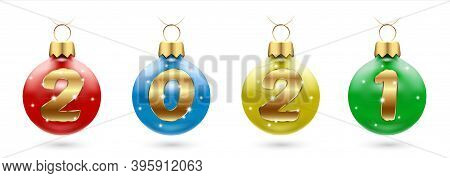 Numbers 2021 From Golden Confetti In New Year S Multi-colored Balls, Christmas Tree Decorations. Fes