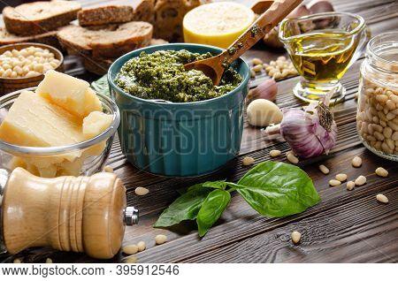 Food Background Of Genovese Pesto Sauce And Its Ingredients Representing Mediterranean Cuisine