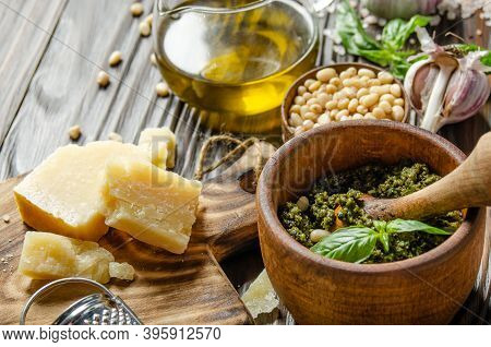 Food Background Of Genovese Pesto Sauce And Its Ingredients