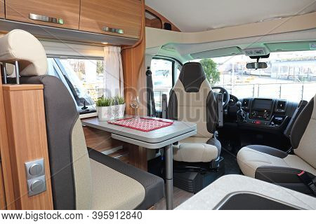 Camper Van Interior Cabin With Seating For Four