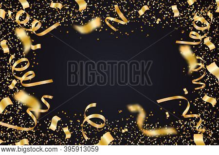 Golden Confetti And Pieces Of Serpentine Isolated On Black Transparent Background. Bright Festive Ov