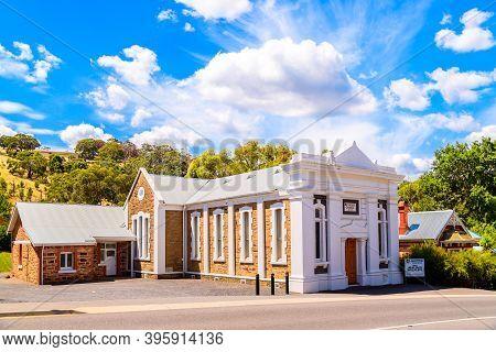 Adelaide Hills, South Australia - February 9, 2020: Clarendon Methodist Church Viewed From Grants Gu