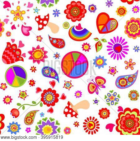 Seamless childish funny wallpaper with peace symbol, flower-power, daisy, fly agaric, paisley, butterflies and rainbow for bag design, fashion print, wrapping paper