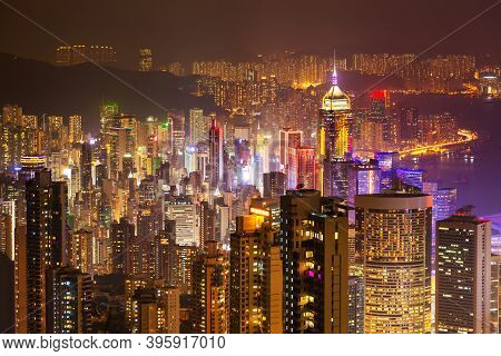 Hong Kong Skyline Aerial Panoramic View From The Victoria Peak Viewpoint In Hong Kong City Centre In