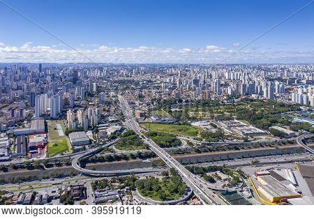 Route From Marginal Tiete To The Neighborhood Of Tatuape, Sao Paulo, Brazil, Seen From Above