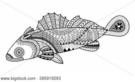 Vector Cute Cartoon Goby Fish. Pattern For Coloring Book. Coloring Book Pages For Kids And Adults. H