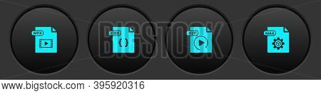 Set Mp4 File Document, Css, Gif And Max Icon. Vector