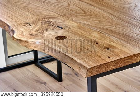 Live Edge Elm Desk With Metal Base In A Modern Home Office. Details Close-up