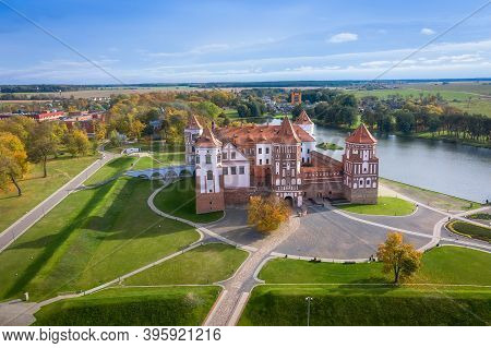 Belarus. Mir Castle In The Minsk Region. Aerial View Of A Medieval Castle On A Bright Sunny Autumn D