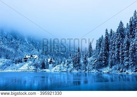 Winter Lake In Snowy Forest In Mountains. Scenic Winter Mountain Nature Landscape. Amazing View On I
