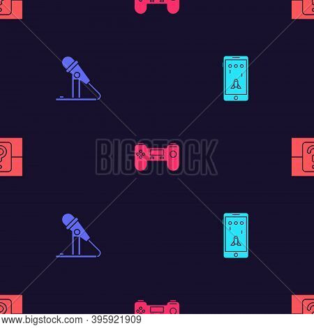 Set Mobile And Playing In Game, Microphone, Gamepad And Mystery Or Random Box On Seamless Pattern. V