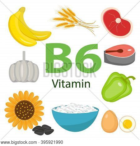 Vitamins And Minerals Foods Illustrator Set 10.vector Set Of Vitamin Rich Foods. Vitamin B6-bananas,