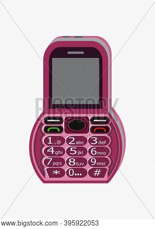 Image Of A Rounded, Pink Color Cell Phone Design, Having A Numeric Keypad And Display.