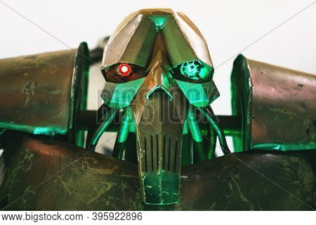 Moscow, November 21, 2020: Close-up Of The Head Of An Evil Robot Or Villain.