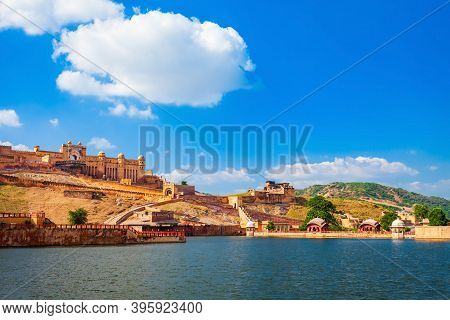 Amer Fort Or Amber Fort And Maota Lake Are Located Near Jaipur City In Rajasthan State Of India