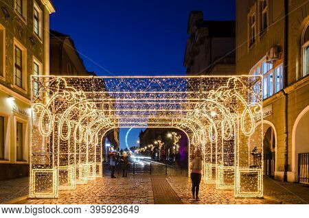 Poznan / Poland - 2019: Christmas Decorations In The Streets Of The City