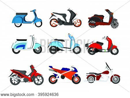 Modern And Retro Motorbikes Flat Illustrations Set. Sportive Motorcycles Collection Motosport Transp
