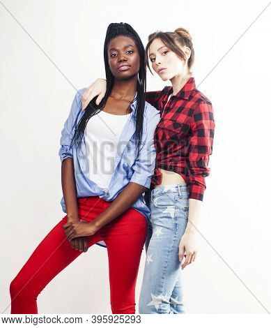 Diverse Multi Nation Girls, Teenage Friends Cheerful Having Fun, Happy Smiling, Cute Posing Isolated