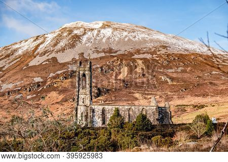 Dunlewey Church Ruins In The Poison Glen At Mount Errigal In Donegal, Ireland