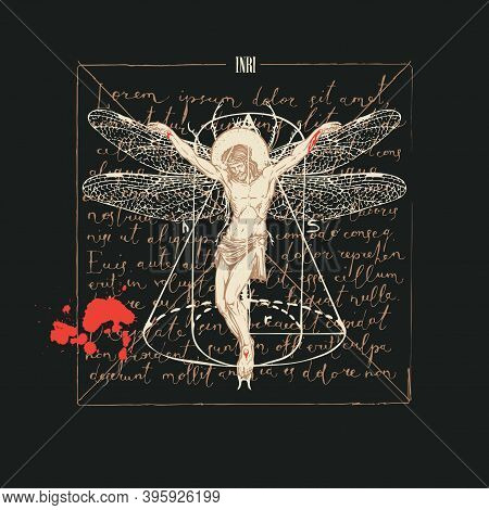 Hand-drawn Illustration With A Crucifix And The Inscription Inri On Old Paper. Abstract Religious Ba