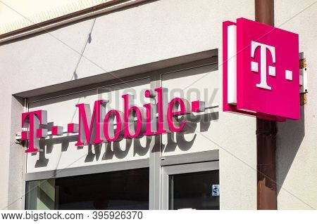 Cesky Tesin, Czech Republic - October 7, 2018: The Pink Logo Of T-mobile Communication Company And I
