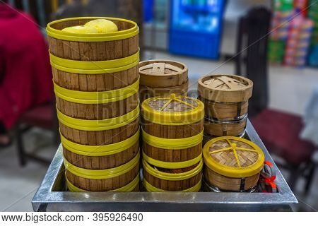 Chinese Dimsum Bamboo Steamer Boxes On The Serving Cart