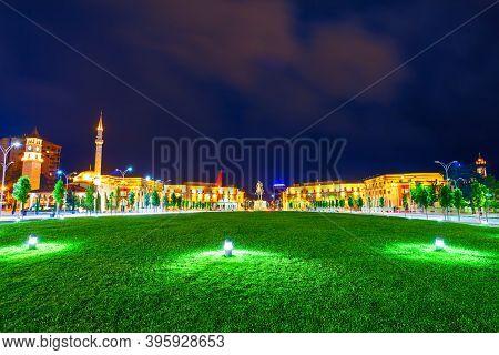 The Skanderbeg Square Or Sheshi Skenderbej Is The Main Plaza In The Centre Of Tirana City In Albania