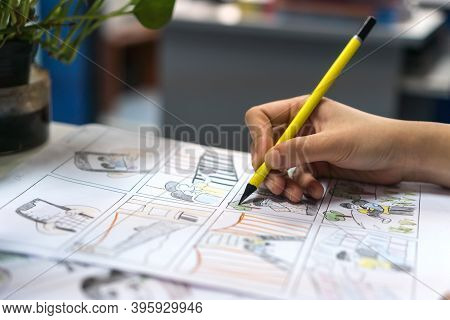 Animator Designer Create Storyboard Color Drawing Creative For Movie Process Pre-production Media Fi