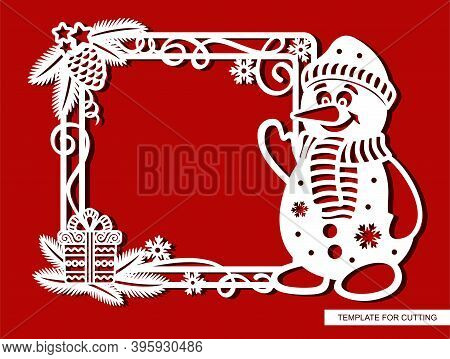 Funny Christmas Frame With Cartoon Snowman. Square Border With Fir Branches, Pine Cone, Serpentine,