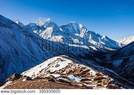 Thamserku And Kangtega Mountain Landscape In Everest Or Khumbu Region In Himalaya In Nepal